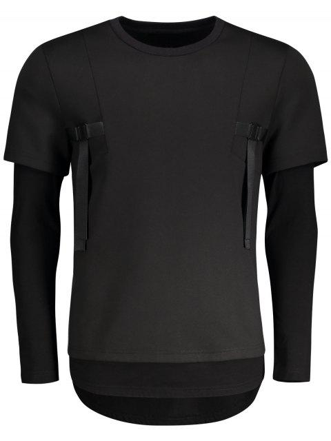 sale Double-sleeve Low High Hem Sweatshirt - BLACK L Mobile