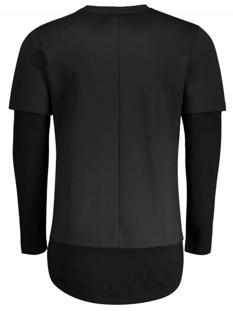 buy Double-sleeve Low High Hem Sweatshirt - BLACK XL Mobile