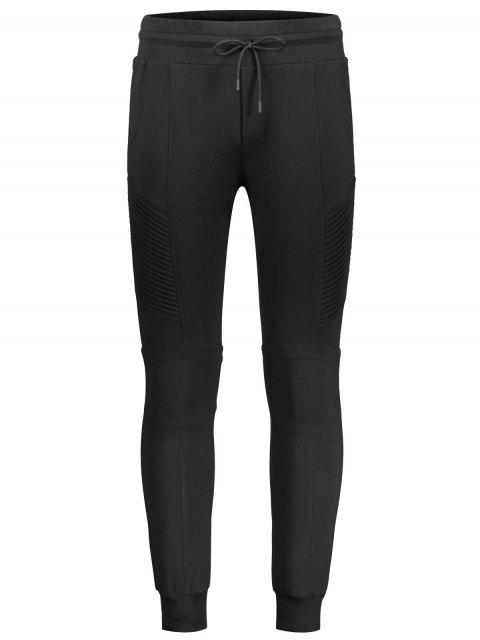 Pantalon de jogging décontracté latéral côtelé - Noir L Mobile