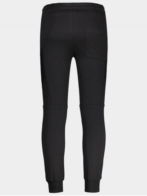 unique Ribbed Side Casual Jogger Pants - BLACK M Mobile
