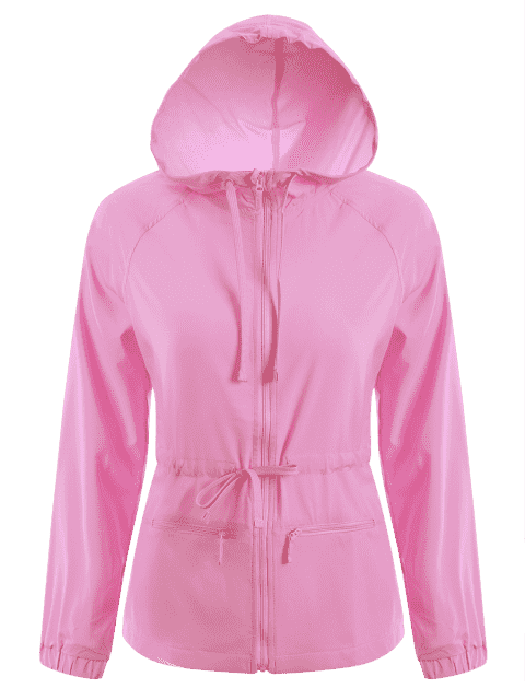 womens Zip Up Drawstring Hooded Sports Jacket - PINK M Mobile