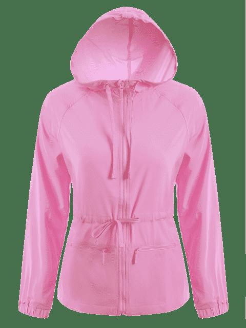 Veste de sport à capuche à capuchon à bout - ROSE PÂLE S Mobile
