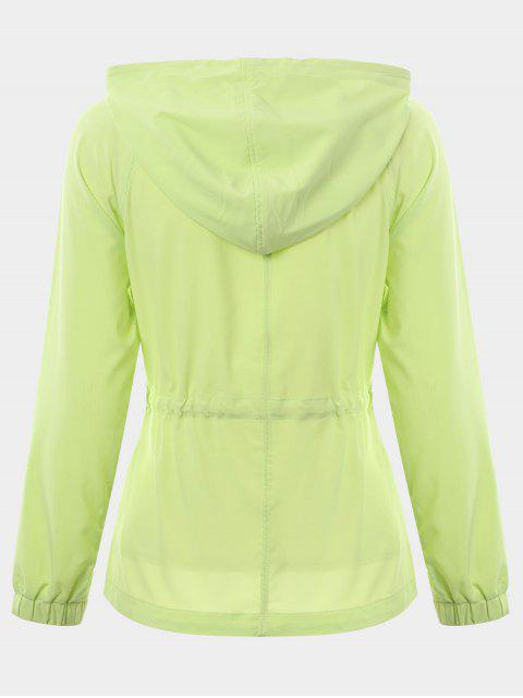 unique Zip Up Drawstring Hooded Sports Jacket - GREEN L Mobile