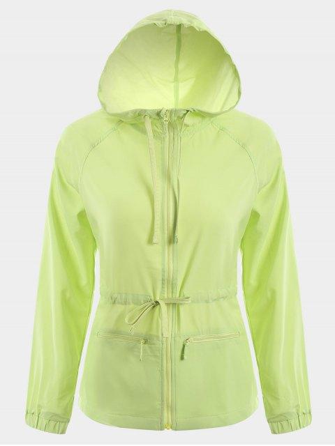 Veste de sport à capuche à capuchon à bout - Vert L Mobile