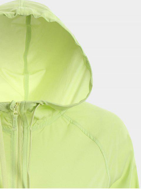 affordable Zip Up Drawstring Hooded Sports Jacket - GREEN S Mobile