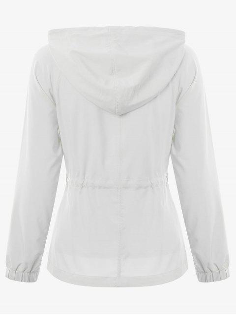 fashion Zip Up Drawstring Hooded Sports Jacket - WHITE L Mobile