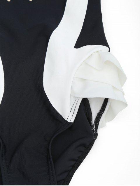 chic Swan Print Ruffles Kid Swimwear - BLACK 7T Mobile