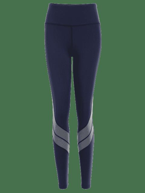 best Two Tone Active Yoga Leggings - PURPLISH BLUE L Mobile