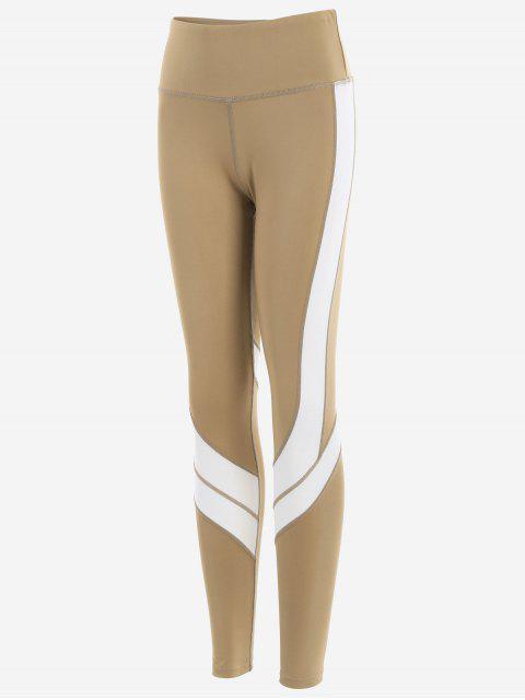 outfit Two Tone Active Yoga Leggings - LIGHT KHAKI L Mobile