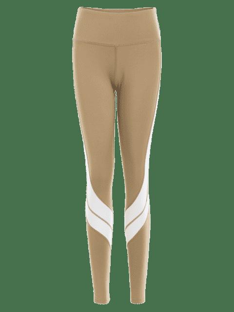 outfits Two Tone Active Yoga Leggings - LIGHT KHAKI M Mobile