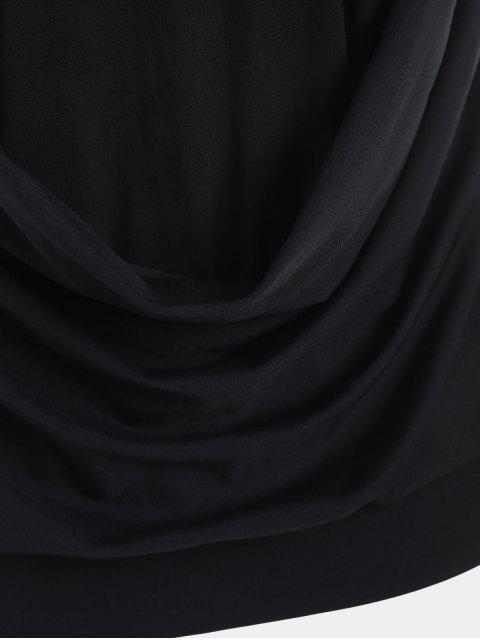 fashion Racerback Mesh Draped Sports Top - BLACK XL Mobile