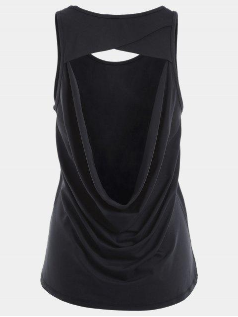 latest Scoop Back Cut Out Sports Top - BLACK S Mobile