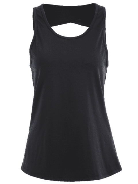 trendy Scoop Back Cut Out Sports Top - BLACK XL Mobile