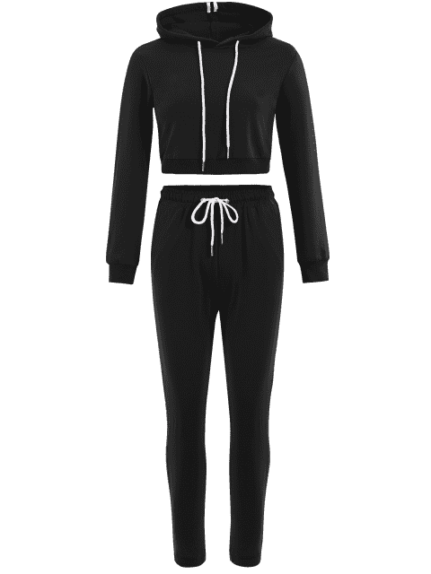 new Sporty Drawstring Hoodie with Pants - BLACK S Mobile
