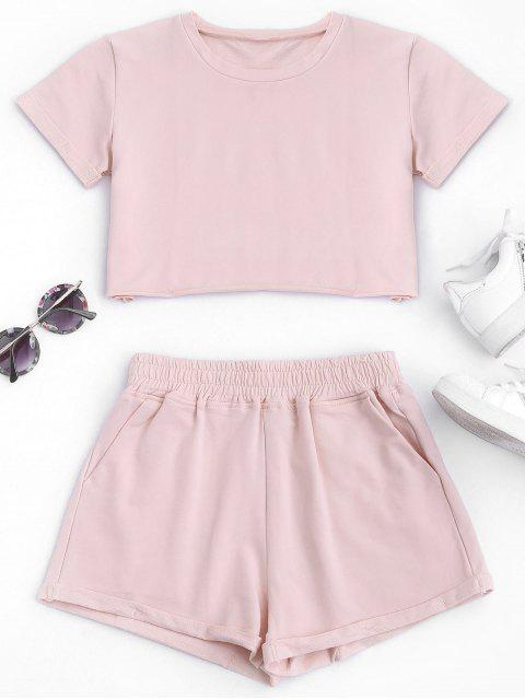 lady Cotton Sports Cropped Top and Shorts Suit - PINK M Mobile