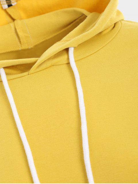 outfit Sporty Drawstring Hoodie with Pants - YELLOW M Mobile
