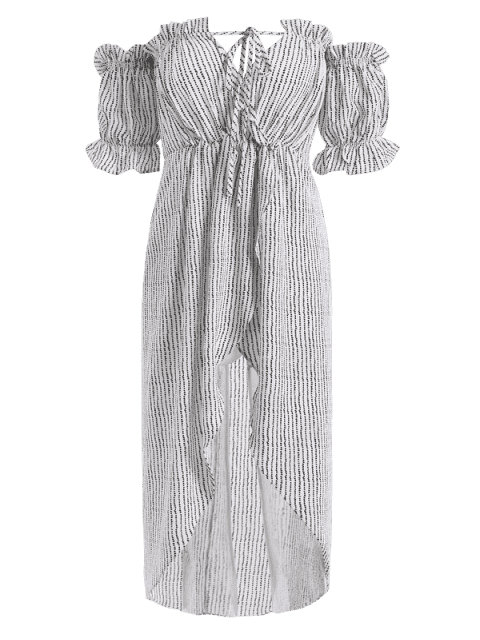 Stripes Ruffles Off Shoulder Asymmetrical Dress - Rayure S Mobile
