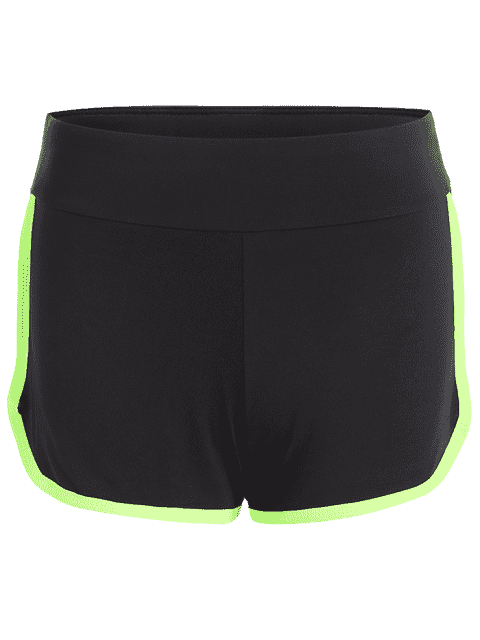 chic Stripe Trim Sports Shorts - NEON GREEN L Mobile