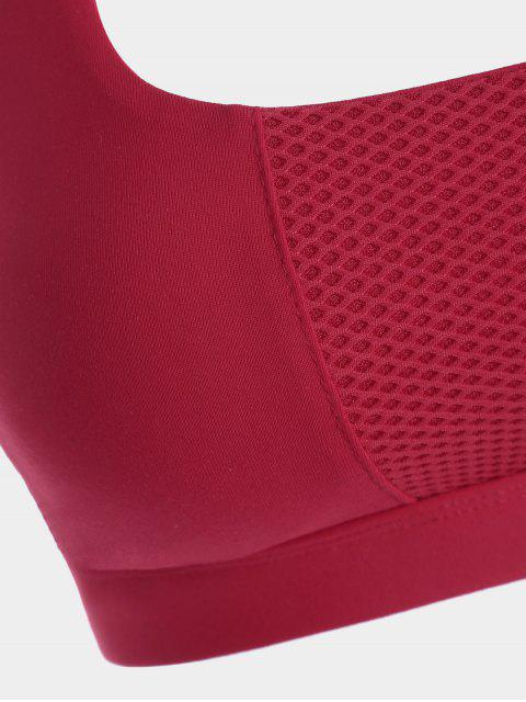 fancy Mesh Panel Crisscross Cutout Sports Bra - RED L Mobile