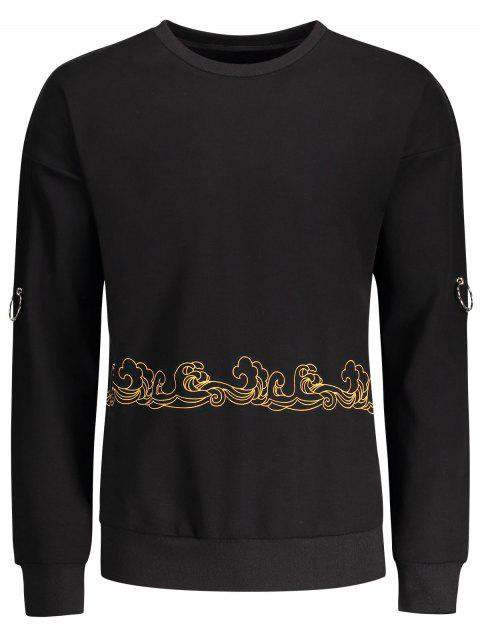hot Metal Ring Decor Printed Sweatshirt - BLACK L Mobile