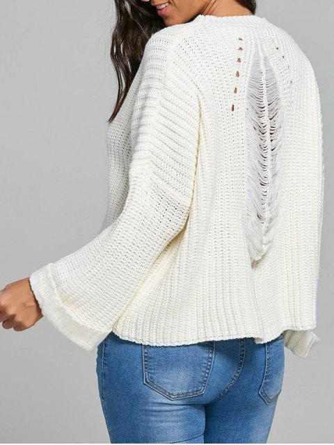 best Back Ripped Openwork Pullover Sweater - WHITE ONE SIZE Mobile