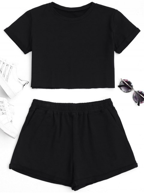 women Cotton Sports Cropped Top and Shorts Suit - BLACK L Mobile
