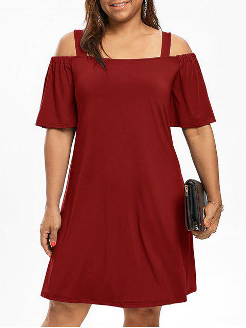 Más tamaño hombro frío hombro vestido de manga - Vino Rojo XL Mobile