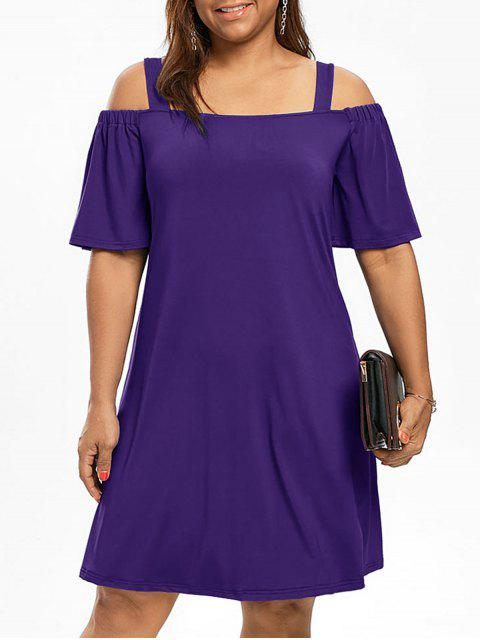 Más tamaño hombro frío hombro vestido de manga - Púrpura XL Mobile