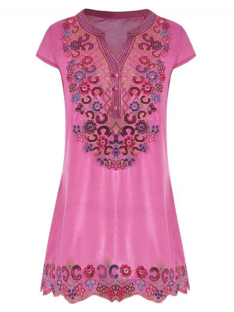 Top en tunique bordée en paillettes - Rose Rouge 2XL Mobile