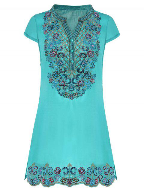 trendy Sequin Embroidered Plus Size Tunic Top - LAKE BLUE 3XL Mobile