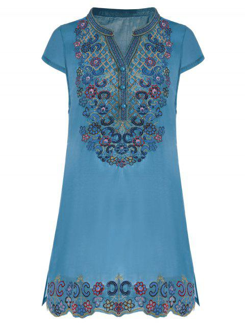 outfits Sequin Embroidered Plus Size Tunic Top - BLUE 3XL Mobile