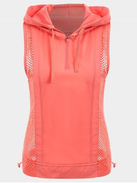 Mesh Panel Sport Top mit Kapuze und Halbem Reißverschluss - orange pink  M Mobile