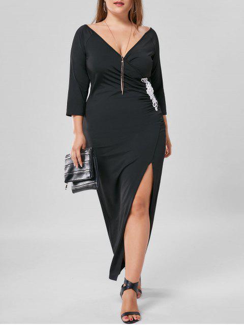Vestido maxi de talle alto con aplicación de apliques grandes - Negro 2XL Mobile