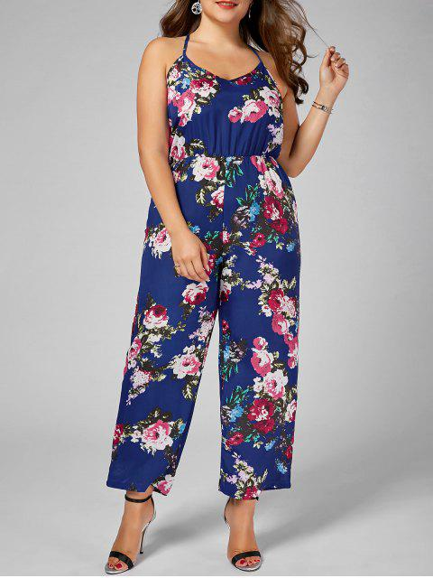 lady Floral Chiffon Plus Size Jumpsuit - BLUE 2XL Mobile