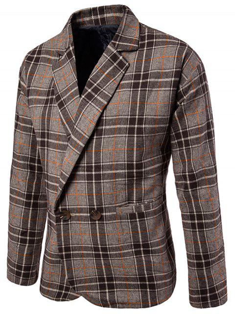 unique One Button Wool Blend Plaid Blazer - COFFEE M Mobile