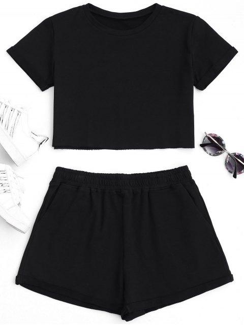 Cotton Sports Cropped Top und Shorts Anzug - Schwarz L Mobile