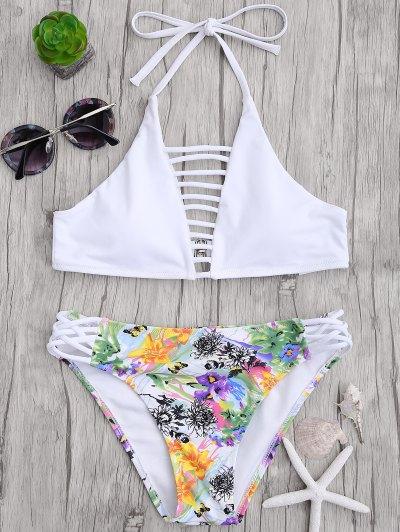 Corte Top Strappy Con Fondo De Bikini Floral - Blanco M