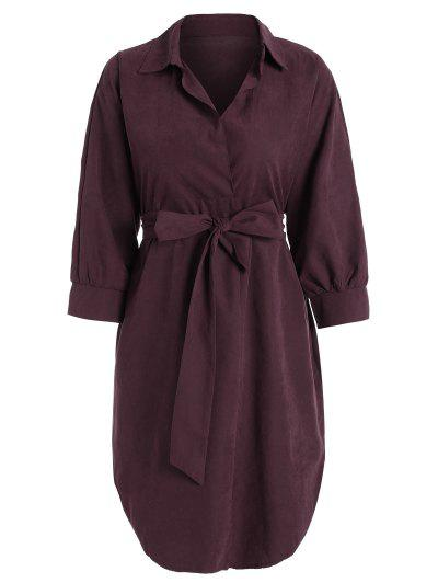 Belted Plain High Low Dress - Wine Red L