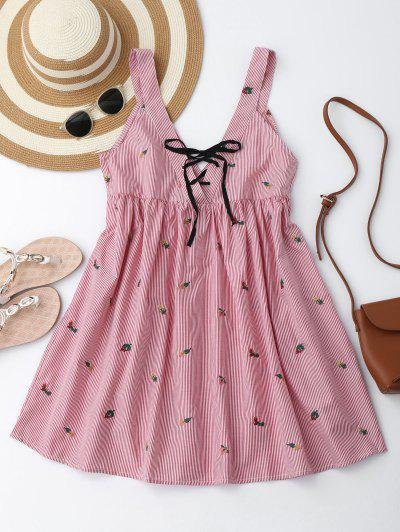 Embroidered Stripes Lace Up Casual Dress - Red And White M