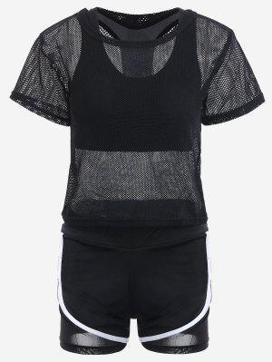 Mesh Three-piece Sports Suit - Black L