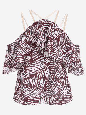 Folhas Print Cold Shoulder Cami Blusa - Vermelho Escuro