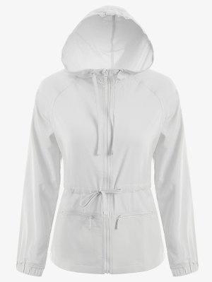 Zip Up Drawstring Hooded Sports Jacket - White M