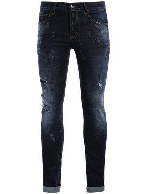 Hombres Rectos Ripped Vintage Jeans - Azul 36