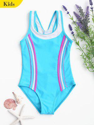 Traje De Baño De Color Texturizado Con Bloques De Color - Lago Azul 8t