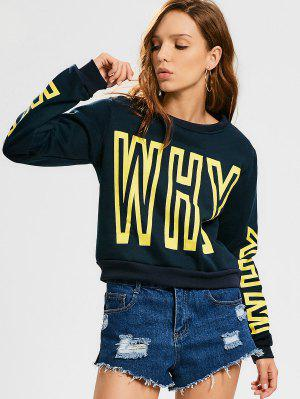 Sports Letter Padded Sweatshirt - Purplish Blue S