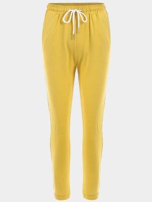 Pantalones De Rayas De Deportes De Cordón - Amarillo L