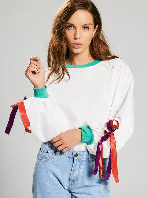 Gathered Sleeve Bowknot Sweatshirt - White