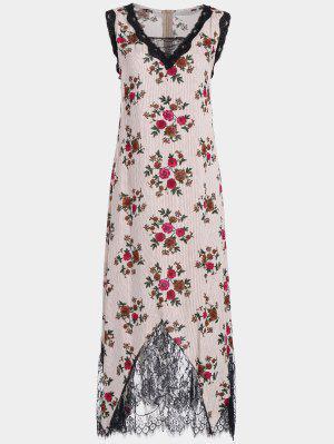 Lace Trim Floral Stripes Maxi Vestido - Rojo S