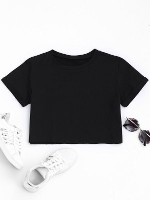 Curled Sleeve Cropped Sports Top - Black M