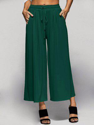 Elastic Waist Culotte Pants - Green 4xl